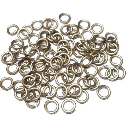 16swg (1.6mm) 7/32in. (5.7mm) ID 3.6AR Anodized Aluminum Jump Rings - Khaki