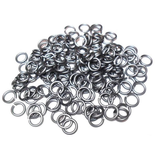 18swg (1.2 mm) 1/4in. (6.7mm) ID 5.6AR Anodized Aluminum Jump Rings - Slate