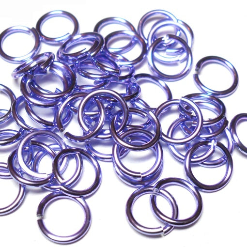 18swg (1.2MM) 3/16in. (5.0mm) ID 4.2AR Anodized  Aluminum Jump Rings - Lavender