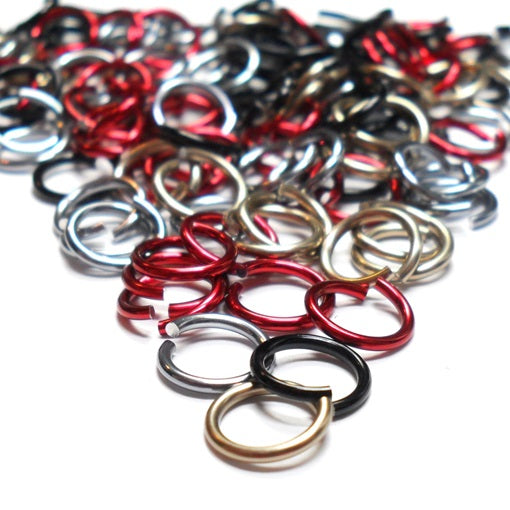 18swg (1.2mm) 5/32in. (4.2mm) ID 3.5AR Anodized  Aluminum Jump Rings - Art Deco Mix