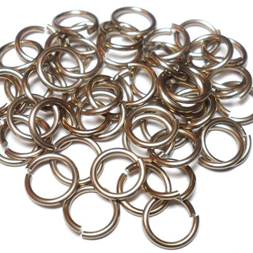 18swg (1.2mm) 5/32in. (4.2mm) ID 3.5AR Anodized  Aluminum Jump Rings - Champagne