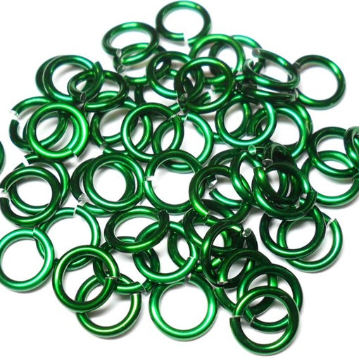 18swg (1.2MM) 9/32in. (7.7mm) ID 6.4AR Anodized Aluminum Jump Rings - Green
