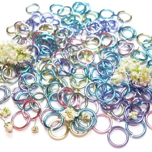 20awg (0.8mm) 3/32in. (2.5mm)  ID 3.1AR Anodized Aluminum Jump Rings -  Spring Fling