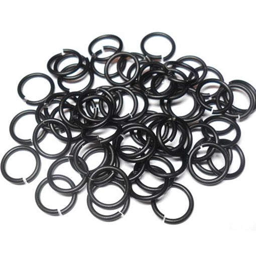 18swg (1.2mm) 9/64in (3.6mm) ID 3.0AR Anodized Aluminum Jump Rings - Matte Black