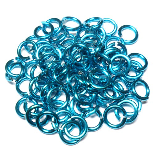 18swg (1.2mm) 9/64in. (3.6mm) ID 3.0AR Anodized Aluminum Jump Rings - Turquoise