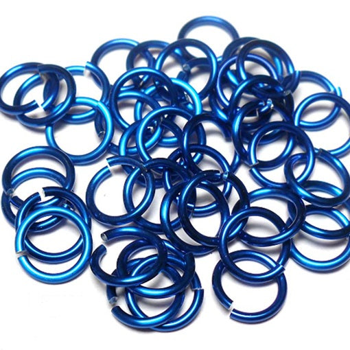 20awg (0.8mm) 3/32in. (2.5mm) ID 3.1AR Anodized  Aluminum Jump Rings - Royal Blue