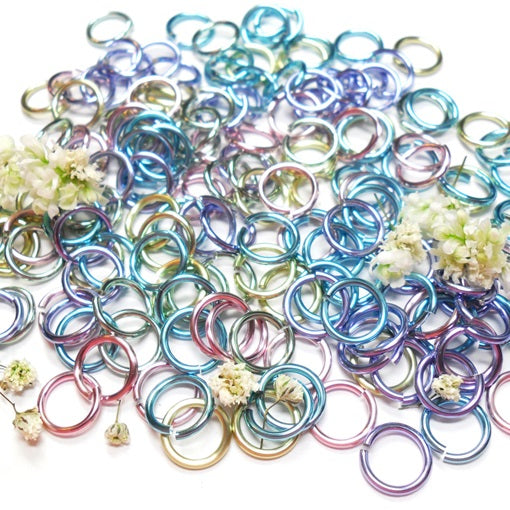 20awg (0.8mm) 5/32in. (4.3mm) ID 5.4AR Anodized  Aluminum Jump Rings - Spring Fling Mix