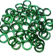 20awg (0.8mm) 5/32in. (4.3mm) ID 5.4AR Anodized  Aluminum Jump Rings - Green