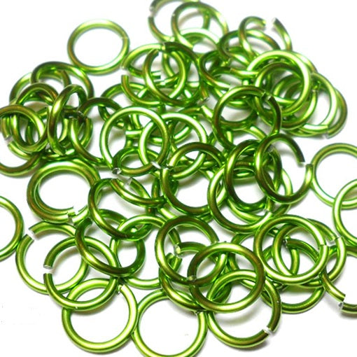 20awg (0.8mm) 7/64in. (2.8mm) ID 3.6AR Anodized  Aluminum Jump Rings - Lime