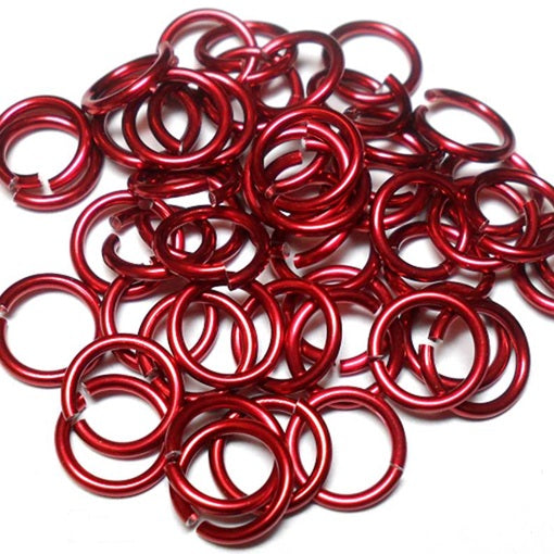 20awg (0.8mm) 7/64in. (2.8mm) ID 3.6AR Anodized  Aluminum Jump Rings - Red
