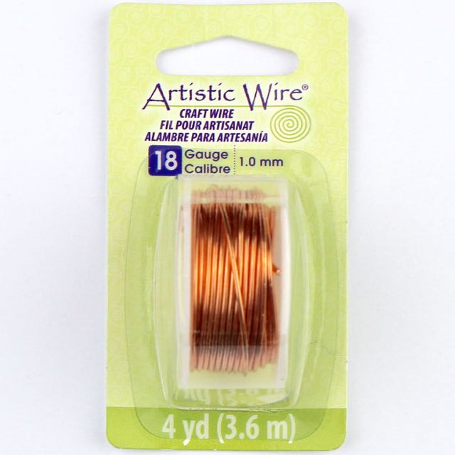 3.6 meters (4 yards) - 18 gauge (1.0mm) Craft Wire - Bare Copper