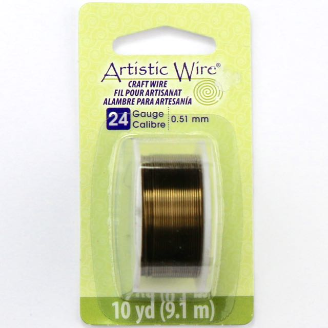 9.1 meters (10 yards) - 24 gauge (.51 mm) Craft Wire - Antique Brass
