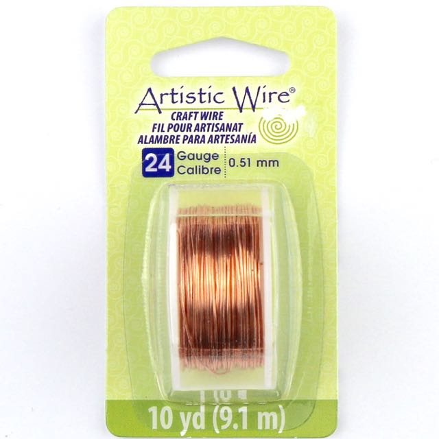 9.1 meters (10 yards) - 24 gauge (.51 mm) Craft Wire - Bare Copper
