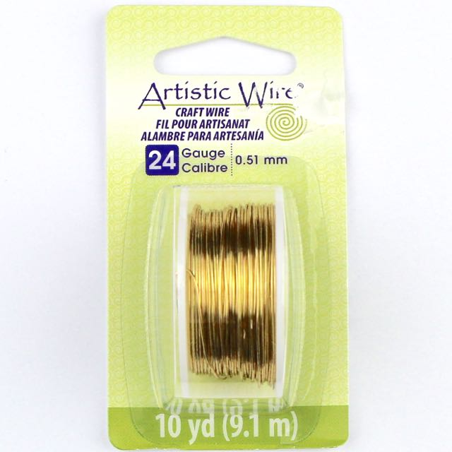 9.1 meters (10 yards) - 24 gauge (.51 mm) Craft Wire - Tarnish Resistant Brass