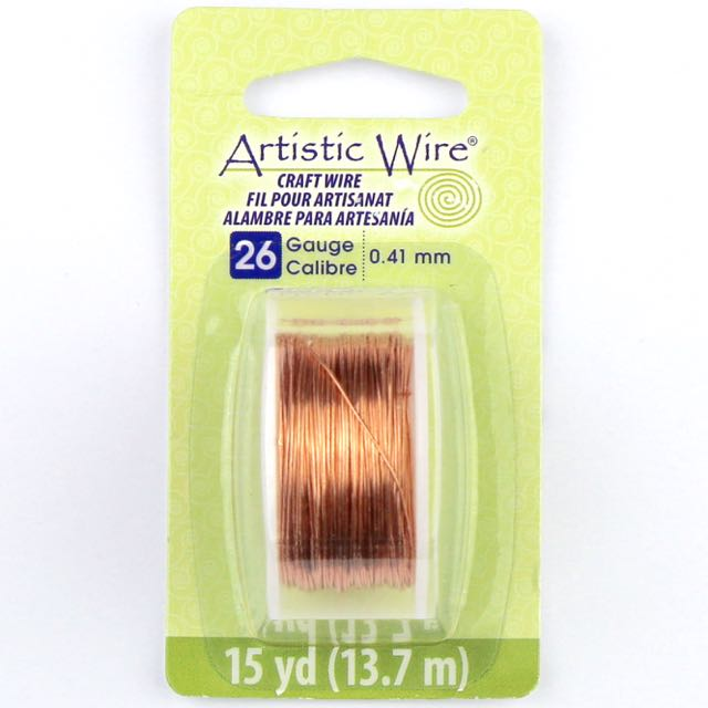 13.7 meters (15 yards) - 26 gauge (.41mm) Craft Wire - Bare Copper