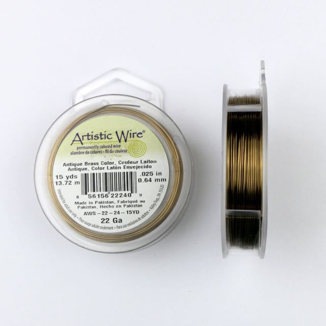 13.72 meters (15 yards) - 22 gauge (.64mm) Permanently Coloured Wire - Antique Brass