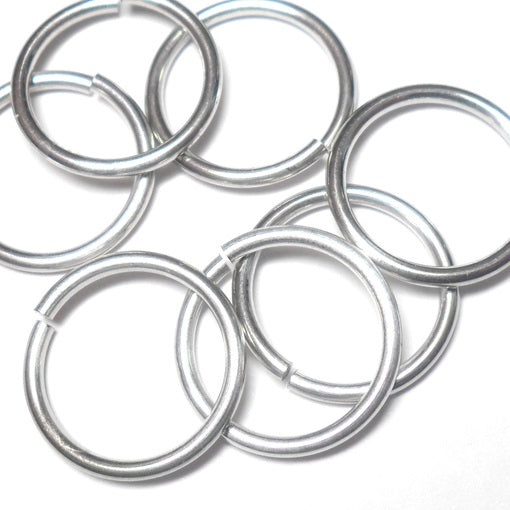 14swg (2.0mm) 1/2in. (13.9mm) ID 7.0AR Bright Aluminum Jump Rings