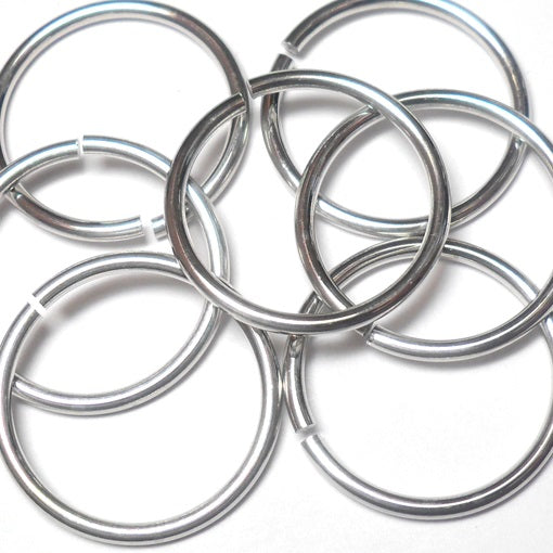 14swg (2.0mm) 3/4in. (22mm) ID 11.0AR Bright Aluminum Jump Rings