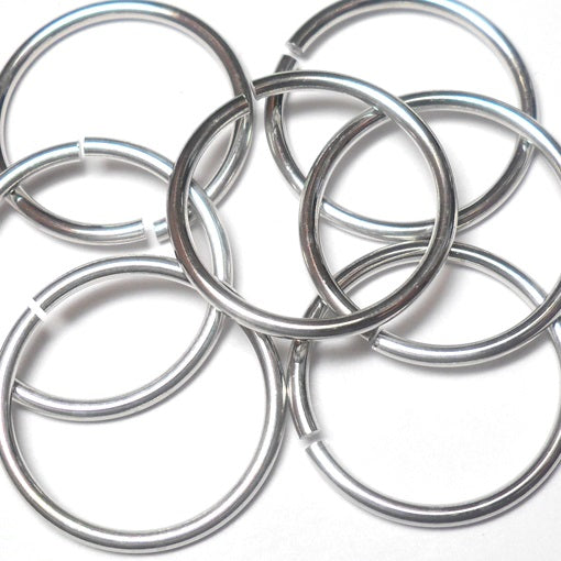 16swg (1.6mm) 5/8in. (17.6mm) ID 11.0AR Bright Aluminum Jump Rings