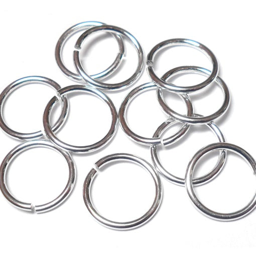 18swg (1.2mm) 11/32in. (9.5mm) ID 7.9AR Bright Aluminum Jump Rings