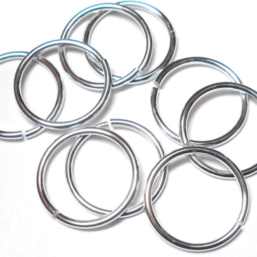 18swg (1.2mm) 7/16in. (12.2mm) ID 10.1 AR Bright Aluminum Jump Rings