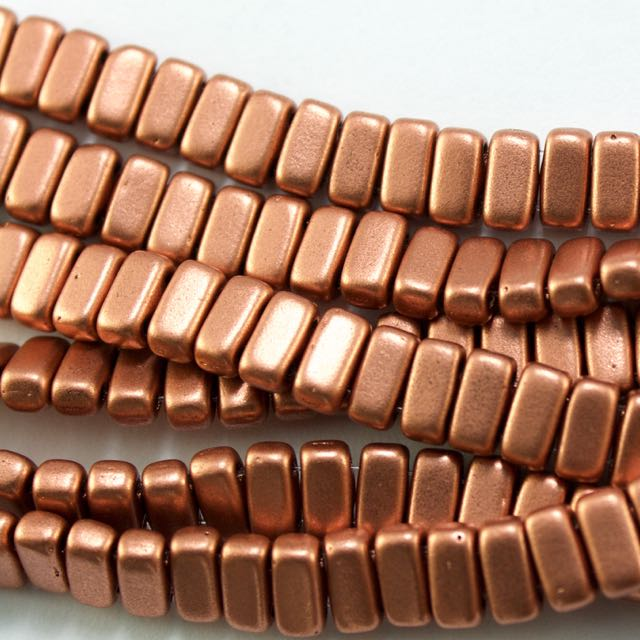 Two-Hole 3mm x 6mm BRICK Bead - Matte Metallic Copper