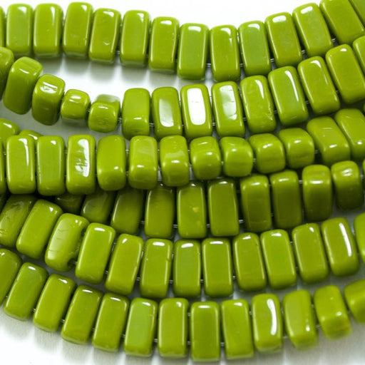 Two-Hole 3mm x 6mm BRICK Bead - Opaque Olive