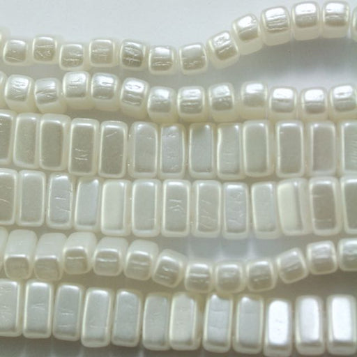 Two-Hole 3mm x 6mm BRICK Bead - White