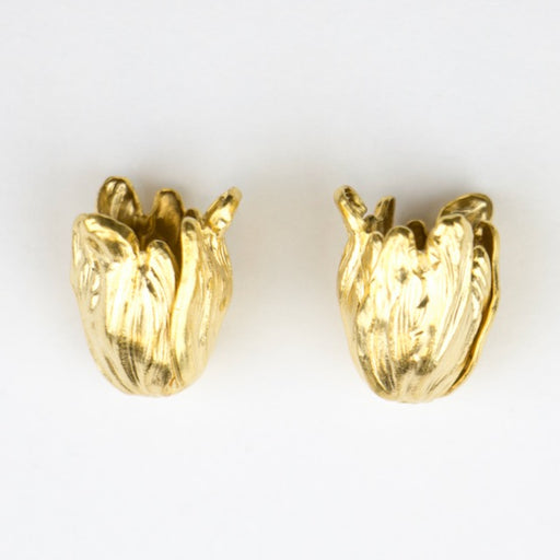 9mm x 11mm Tulip Bead Cap - Matte Gold