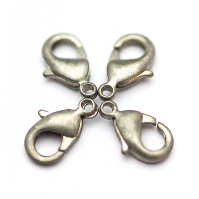 12mm x 7mm Lobster Claw Clasp - Antique Silver