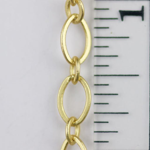 9mm x 5mm Flat Oval Chain - Satin Hamilton Gold