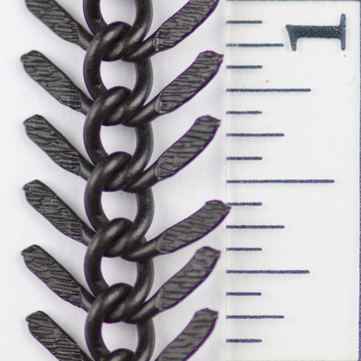 13mm Textured Fishbone Chain - Matte Black