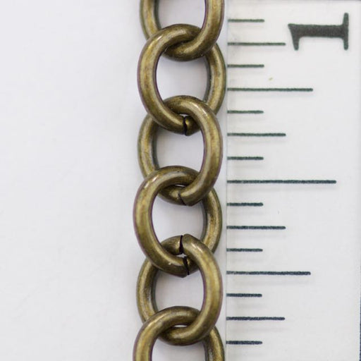 8mm x 6.5mm Cable Chain - Antique Brass