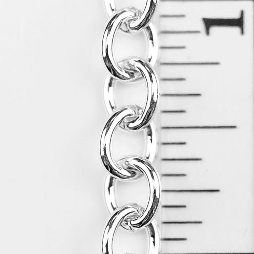 8mm x 6.5mm Cable Chain - Silver