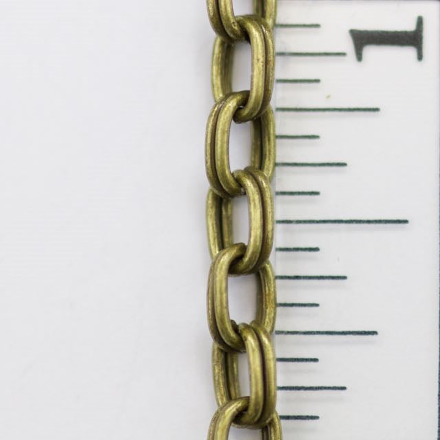 6mm x 4mm Rectangle Split Ring Chain - Antique Brass