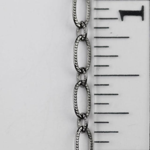 6.4mm x 3mm Textured Oval Chain - Gunmetal