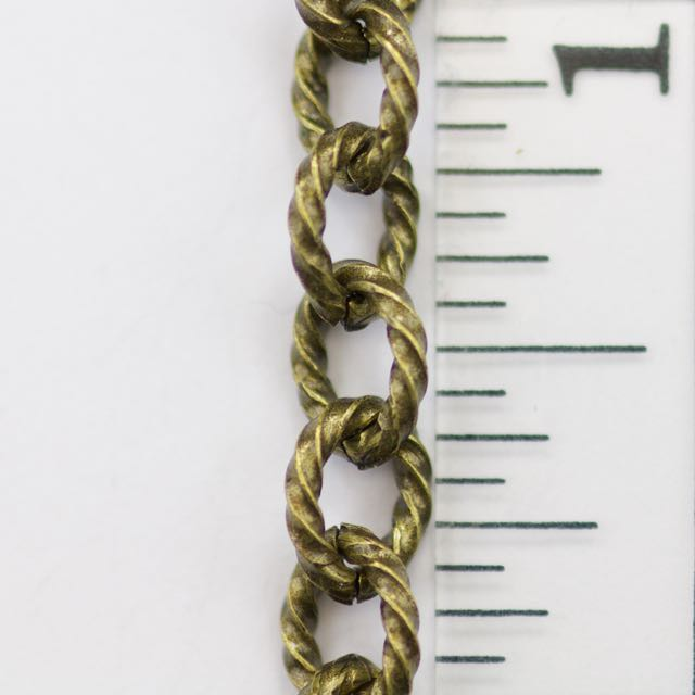 7.5mm x 6mm Twisted Link Cable Chain - Antique Brass