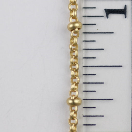 2mm Satellite Rolo Chain with 2.5mm Ball - Satin Hamilton Gold