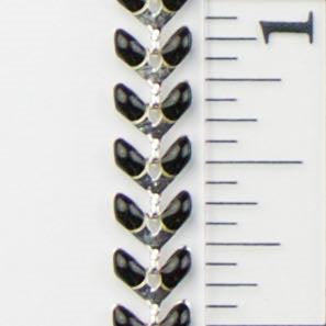6mm x 5mm Black Epoxy Chevron Chain - Silver w/Black Epoxy