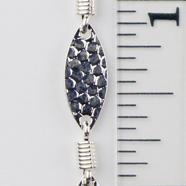 15mm x 6mm Hammered Oval w Spring Link Chain - Silver
