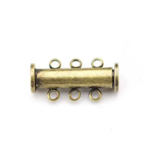 20mm x 10mm Slide Magnetic 3-Loop Clasp - Antique Brass