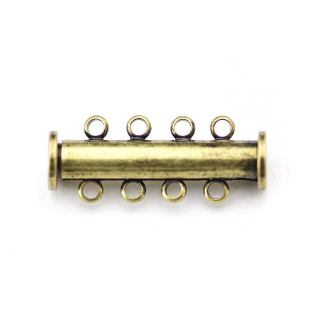 26mm x 10mm Slide Magnetic 4-Loop Clasp - Antique Brass