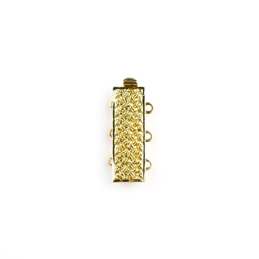 10mm x 19mm 3 Strand Rectangular Clasp - Gold Plate