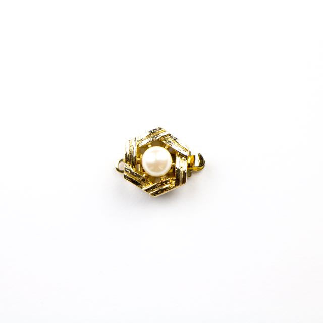 11mm 1 Strand Clasp with Pearl - Gold Plate
