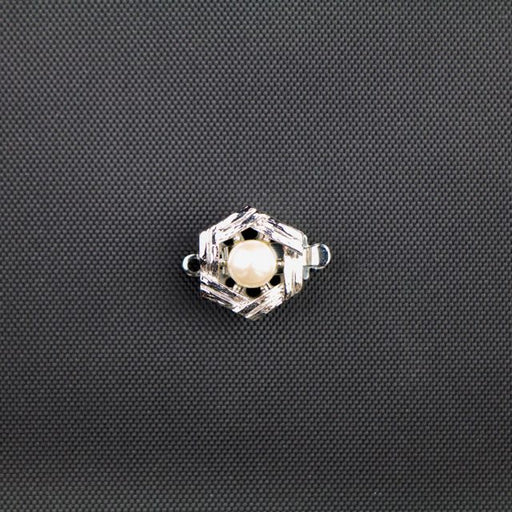11mm 1 Strand Clasp with Pearl - Rhodium Plate