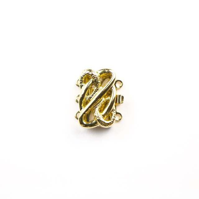 13mm x 17mm 3 Strand Clasp - Gold Plate