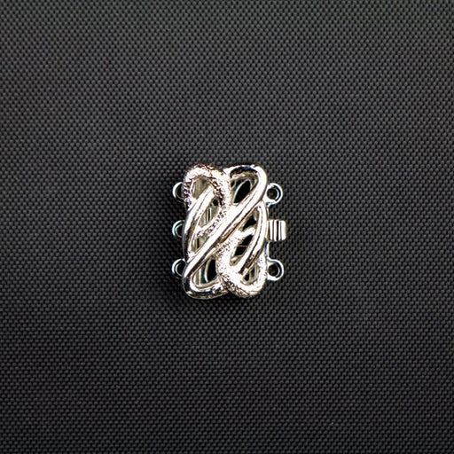 13mm x 17mm 3 Strand Clasp - Rhodium Plate