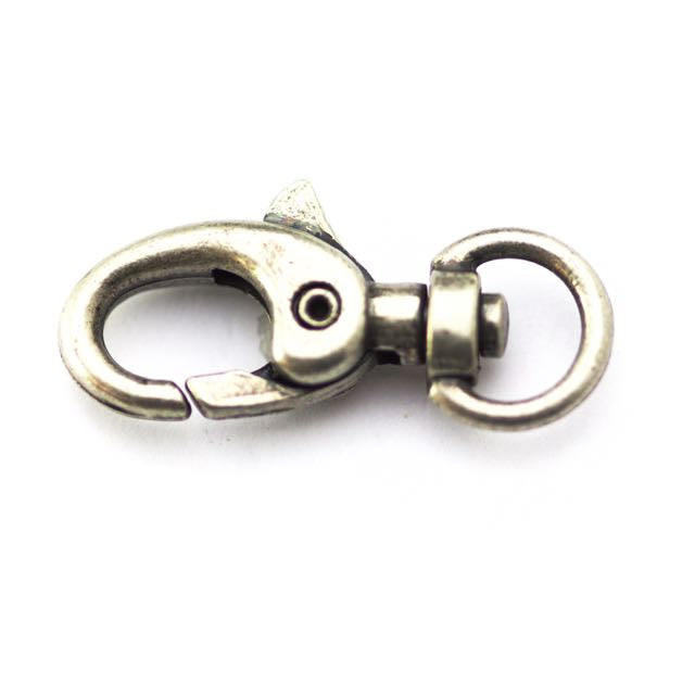 30mm x 15mm Swivel Lobster Clasp - Antique Silver