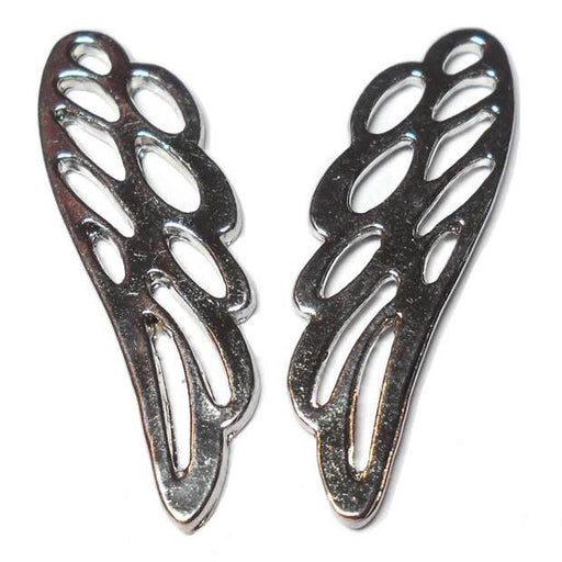 36mm x 11mm Silver-tone Wing Charms