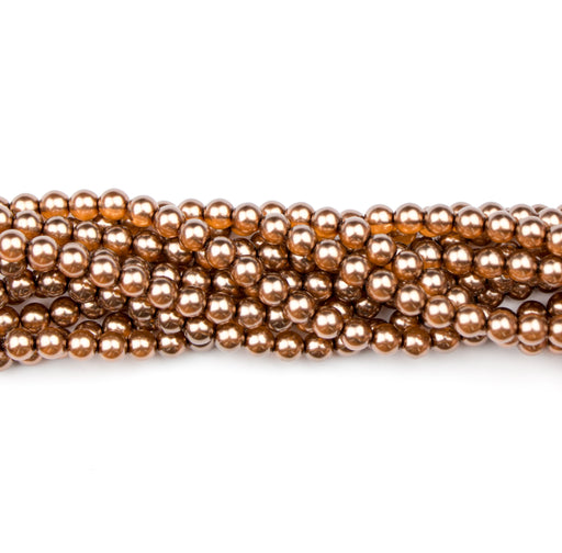 6mm Round Crystal Pearl - Bronze***